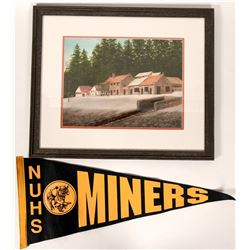 Nevada City Framed Print & Vintage Nevada Union High School Banner Flag (2 Items)  (108296)