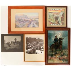 Western Framed Artwork; C. M. Russel Print, Vintage Advertising: Eagle Brand, Buffalo Scale Co., Ear