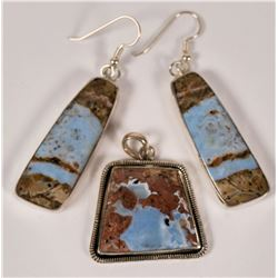 Arizona Blue Opal in Rhyolite Designer Sterling Silver Pendant and Earrings  (109939)