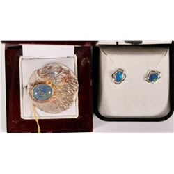 Australian Fire  Opal / Silver Stud Earrings and Large Silver Ring   (108786)