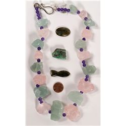 Flourite Rough Crystal Necklace, Two Polished Labrodite Stones and Raw Emerald  (109937)