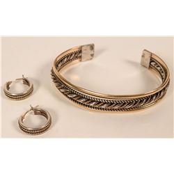 Navajo Sterling Bracelet and Earrings  (109758)