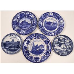 Blue Souvenir Advertising and Calendar Plates PA (5)  (112619)