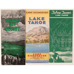 Three Different Tahoe Brochures: Tahoe Tavern, Camp Richardson, & Emerald Bay  (107883)