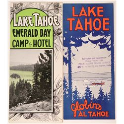 Two Rare Lake Tahoe Brochures: Globin's Al Tahoe and Emerald Bay Camp & Hotel  (107888)