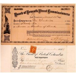 Rare San Francisco Check Plus Board of Street Commissioners Draft  (107790)