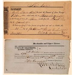 Two Sierra County Gold Rush Saloon/Liquor Licenses incl. Pine Grove  (107815)
