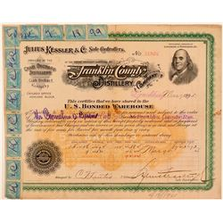 Julius Kessler & Co. Whiskey Distillery Warehouse Certificate  (107768)