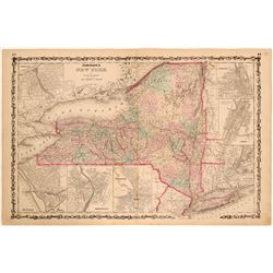 Johnson's New York state map 1870's  (112208)