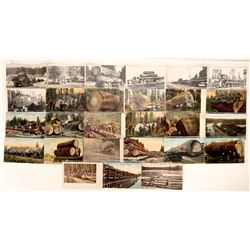 Logging Post Cards / Trains, Loggers, & Trucks / 27 Items.   (109712)