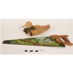 Folk Art saw and tule decoy  (112363)
