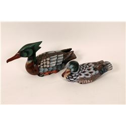 Two decorative wood carved ducks  (110487)