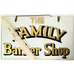 Family Barber Shop Reverse Glass Sign, c 1920  (112187)