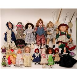 Collection of Raggedy Ann dolls and a Sarah-young pioneer doll by Elspeth  (110411)
