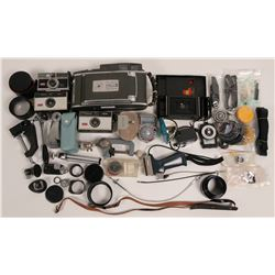 Box of Antique cameras and vintage equipment  (112347)