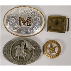 Texas Rangers Mini Badge + 3 Belt Buckles  (114374)