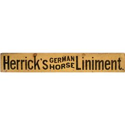 Herrick's German Horse Liniment Wood Sign - Classic Antique Advertising Sign   (108297)