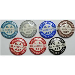 Labor Union UA 437 pin backs.  (112969)