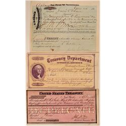 Three Civil War Period Documents incl. US Treasury Documents  (107806)
