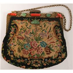 Antique Chinese Petite Point Needlepoint Hand-Stitched Purse with Coral and Chinese Jade Accents  (1