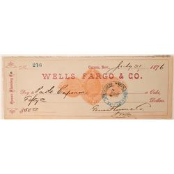 Rare Genoa Fluming Co. Revenue Check (Comstock Lumber Operation)  (107882)