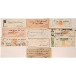 Ten Different Virginia City, Nevada Mining Checks incl. RN  (107887)