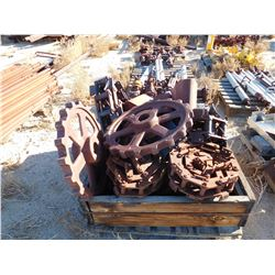 Box of dredge parts, 2 ft dia sprockets, chain and buckets  (114239)