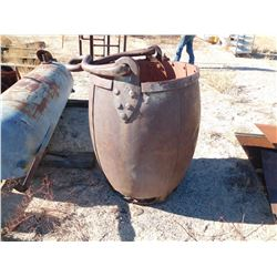 Handsome ore bucket. 29in dia lip, 38in deep, bottom rusted out around edges  (114251)