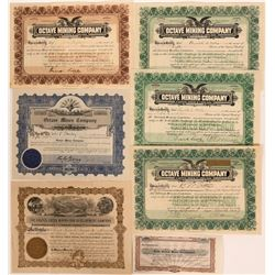 Yavapai County Mining Stocks: Castle Creek, Jerome, Octave (Lot of 7)  (105966)