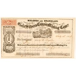 Melones & Stanislaus Gold, Silver & Copper Mining Co Stock, 1863  (111374)