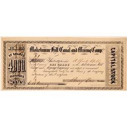 Mokelumne Hill Canal & Mining Company Stock Certificate  (107799)