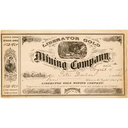 Liberator Gold Mining Company Stock, California, 1887  (111400)