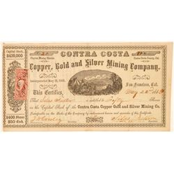 Contra Costa Copper, Gold & Silver Mining Co. Stock Certificate  (101509)