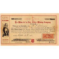 La Mina de la Cruz Silver Mining Company Stock Certificate  (107797)