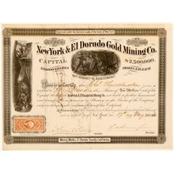 New York & El Dorado Gold Mining Co Stock, 1870  (111367)