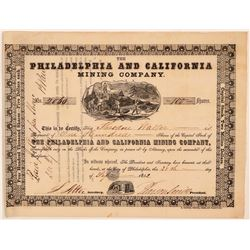 Philadelphia and California Mining Company Stock - 1852!  (110945)