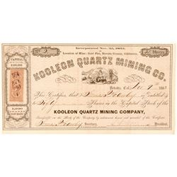 Koolean Quartz Mining Company Stock, Gold Flat, Nevada Co. 1863  (111398)