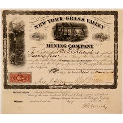 New York & Grass Valley Mining Co Stock, 1866  (111409)
