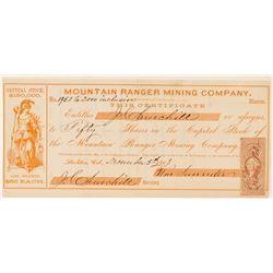 Mountain Ranger Mining Company Stock, Stockton, Cal. 1863  (111368)
