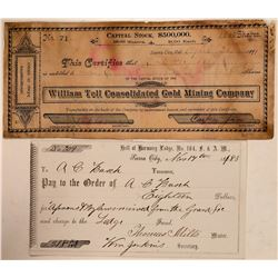 Sierra City Mining Stock Certificate & Fraternal Check  (107817)