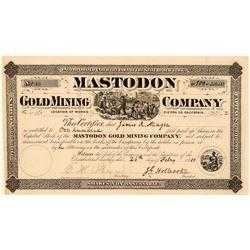 Mastodon Gold Mining Company Stock, Sierra County, Cal. 1880  (111388)