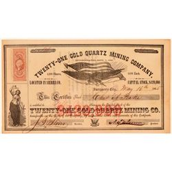 Twenty-One Gold Quartz Mining Company Stock Certificate  (107822)