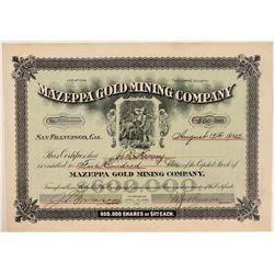 Mazeppa Gold Mining Company Stock, Tuolumne County, 1902  (111349)