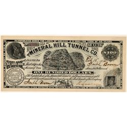 Mineral Hill Tunnel Co Stock, Breckenridge, Colorado, 1884  (111361)