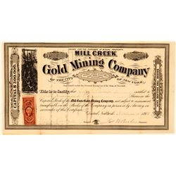 Mill Creek Gold Mining Co Stock, Clear Creek, Co. 1866  (111411)