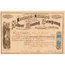 Merchants & Mechanics Silver Mining Co. of Baltimore & Colorado Stock  (111404)