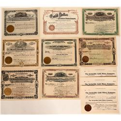 Cripple Creek Stock Certificate Collection (Lot of 9)  (105970)