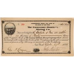 Gregory-Bobtail Mining Company Stock Certificate  (107798)