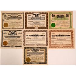 Seven Gilpin County, CO Mining Stock Certificates  (107850)