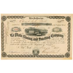 La Plata Mining & Smelting Company Stock, A Colorado Beauty, 1881  (111383)